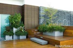 دیزاین داخلی باغ در بام