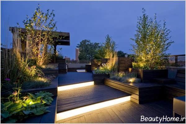 طراحی نورپردازی باغ در بام