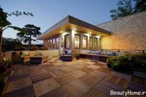 طراحی نورپردازی زیبا و مدرن برای روف گاردن