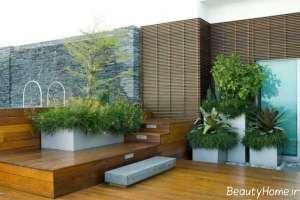طراحی شیک و جالب باغ در بام