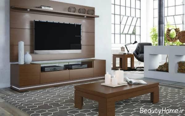 مدل میز تلویزیون دیواری چوبی