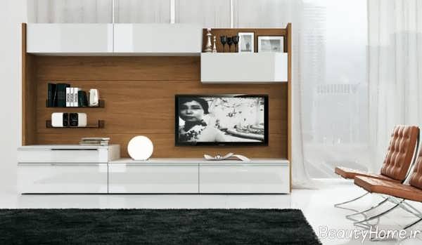 مدل میز ال سی دی دیواری سفید و قهوه ای