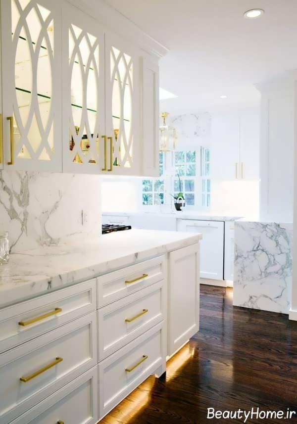 تصاویر انواع مدل کابینت سفید طلایی برای آشپزخانه های شیک