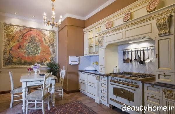مدل کابینت آشپزخانه مدرن سفید طلایی