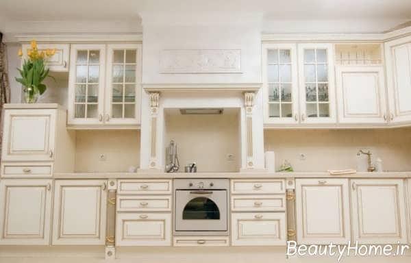 مدل کابینت سفید و زیبا آشپزخانه
