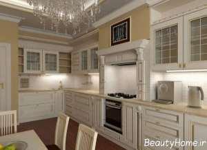 مدل کابینت سفید طلایی زیبا و جذاب