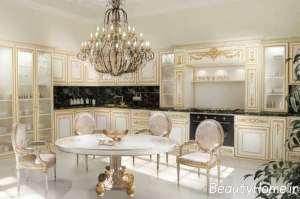 مدل کابینت زیبا و شیک سفید طلایی