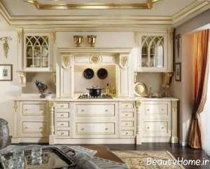 مدل کابینت سفید طلایی شیک و مدرن