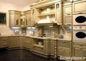 مدل کابینت طلایی آشپزخانه