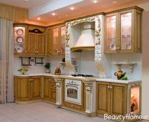 مدل کابینت سفید طلایی برای آشپزخانه مدرن