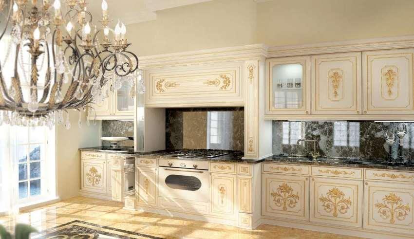 مدل کابینت سفید طلایی آشپزخانه