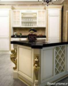 مدل کابینت زیبا و شیک طلایی سفید