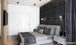 دکوراسیون خاکستری و مشکی اتاق خواب