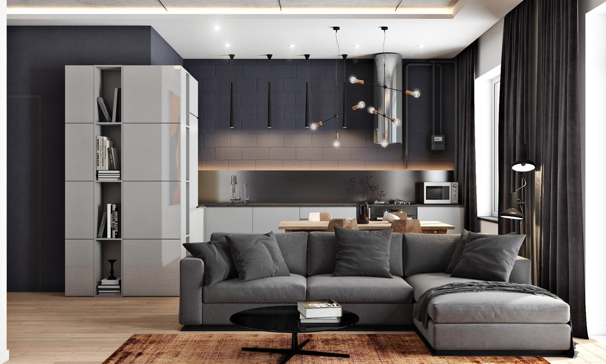دکوراسیون 2 خانه زیبا با رنگ های مشکی، قهوه ای و خاکستری