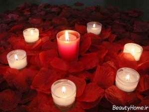 تزیین منزل با شمع و گلبرگ