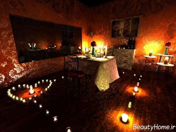 تزیین اتاق نشیمن با شمع