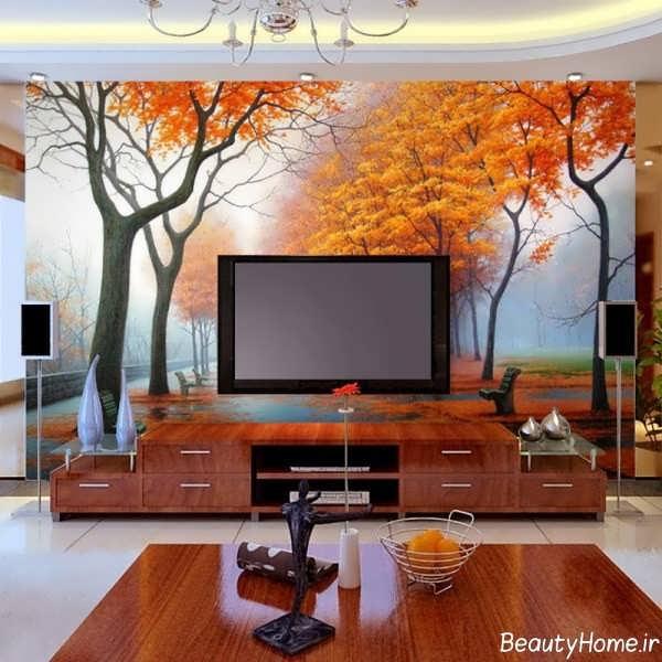 مدل کاغذ دیواری پشت تلویزیون