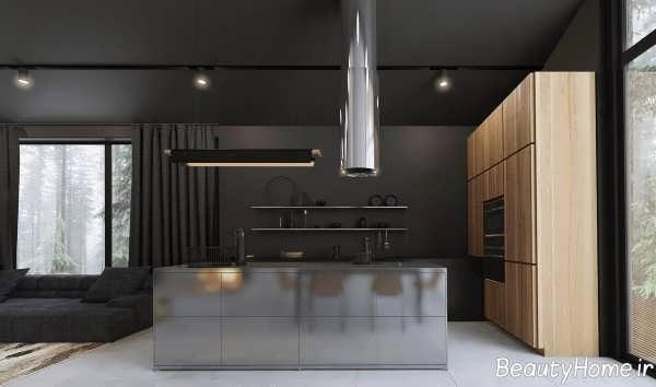 دکوراسیون آشپزخانه سیاه و سفید