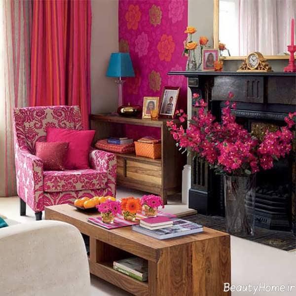 تزیین اتاق نشیمن با گل های طبیعی
