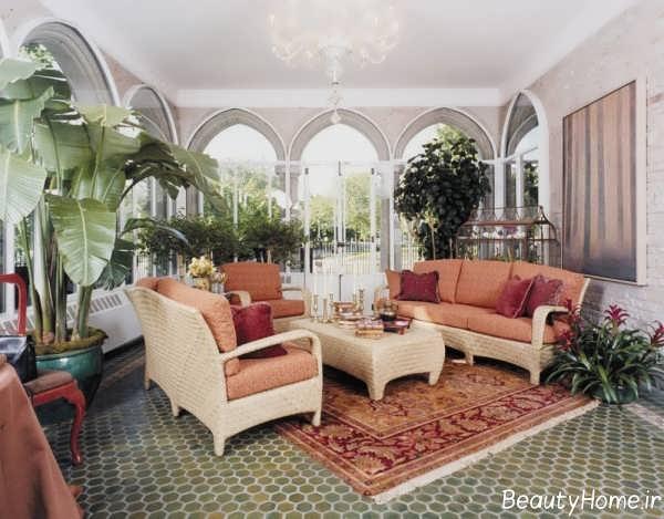 تزیین اتاق نشیمن با گلدان