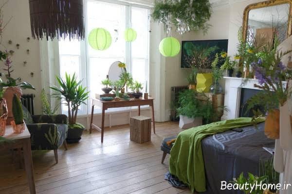 تزیین سالن پذیرایی با گلدان های طبیعی