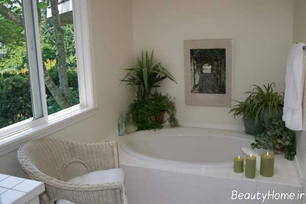 تزیین حمام با گلدان