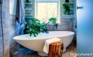 تزیین زیبا و خاص حمام با گلدان