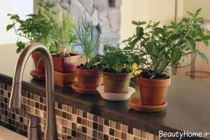 تزیین آشپزخانه با گل