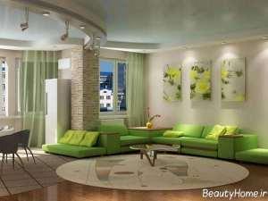 دکوراسیون سبز سالن پذیرایی