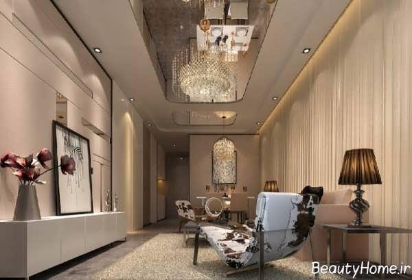 طراحی داخلی سالن پذیرایی لوکس و مدرن