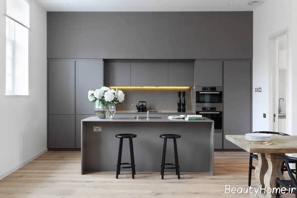 طراحی دکوراسیون آشپزخانه خاکستری