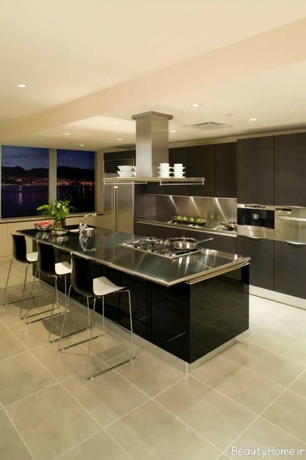 دکوراسیون آشپزخانه تیره