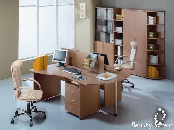 دکوراسیون قهوه ای دفتر کار