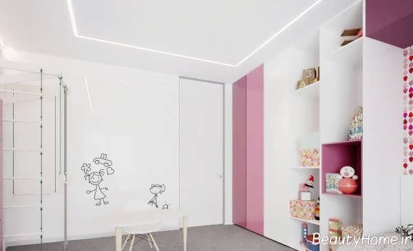 دکوراسیون سفید و صورتی اتاق کودک