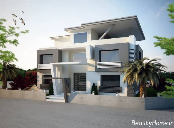 طراحی نمای ساختمان مسکونی مدرن و جذاب