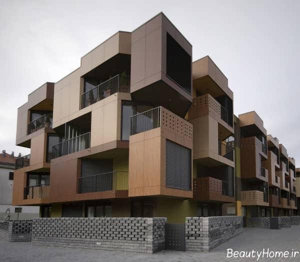 نمای کرم و قهوه ای ساختمان