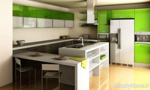 مدل کابینت آشپزخانه سفید و سبز