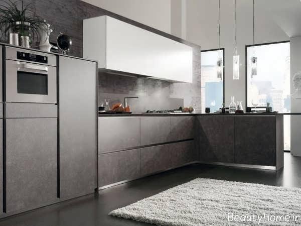 مدل کابینت خاکستری آشپزخانه
