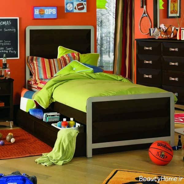 مدل تخت خواب قهوه ای شیک و مدرن