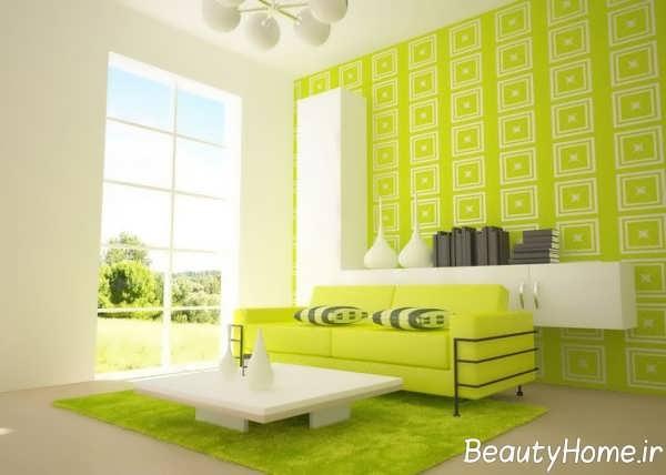 دکوراسیون سبز و سفید اتاق نشیمن