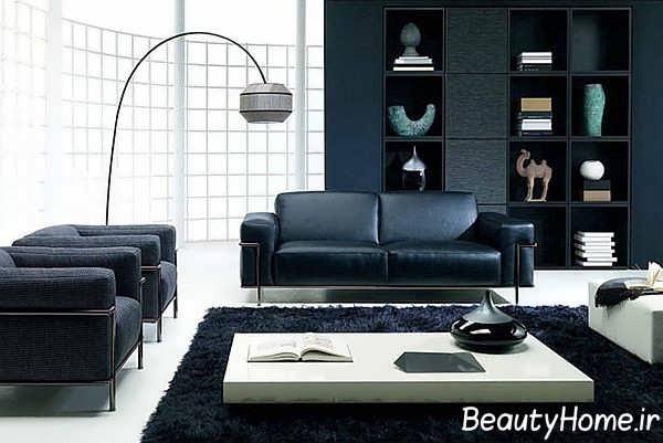 دکوراسیون سفید و سیاه اتاق نشیمن مدرن