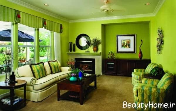 دکوراسیون سبز و مدرن اتاق نشیمن