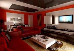 دکوراسیون قرمز اتاق نشیمن
