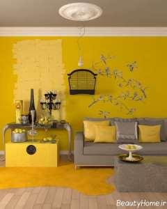 رنگ زرد و خاکستری اتاق نشیمن