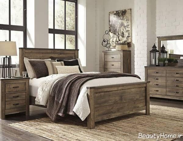 مدل سرویس خواب چوبی شیک و زیبا
