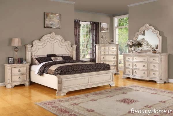 مدل سرویس خواب چوبی رنگ روشن