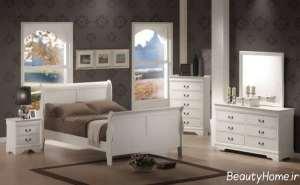 مدل سرویس خواب چوبی سفید و شیک