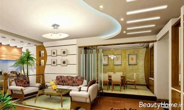 کناف سقف برای اتاق نشیمن