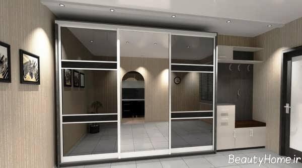 مدل کمد دیواری شیشه ای اتاق خواب