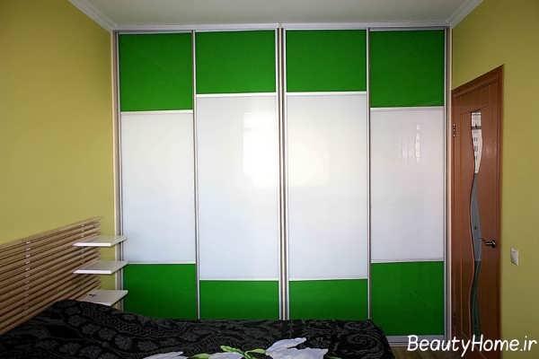 مدل کمد دیواری سفید و سبز اتاق خواب
